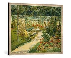 Gerahmtes Bild von Edouard Manet Bank im Blumengarten von Versailles, Kunstdruck im hochwertigen handgefertigten Bilder-Rahmen, 100x70 cm, Silber Raya