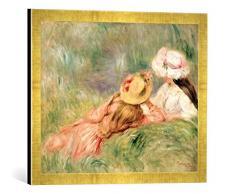 Gerahmtes Bild von Pierre Auguste Renoir Young Girls on The River Bank, Kunstdruck im hochwertigen handgefertigten Bilder-Rahmen, 60x40 cm, Gold Raya