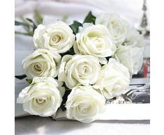Louiesya Künstliche Blumen 6 of Fake Rose Flower Bouquet Floral Pflanzen Decor für Zuhause Garten Hochzeit Party Decor Dekoration Beige