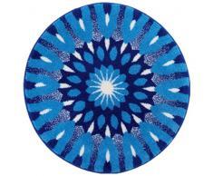 Grund Badteppich 100% Polyacryl, ultra soft, rutschfest, ÖKO-TEX-zertifiziert, 5 Jahre Garantie, EINSICHT, Badematte 100 cm rund, blau