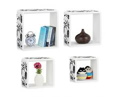 Relaxdays Cube Regale, 4er Set, Freischwebend, Schickes Blumenmuster, Runde Ecken, Stapelbar, Kinderzimmer, MDF, Weiß