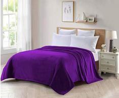 ForenTex Decke für Sofa und Bett, Flanell, 300 g/m², fusselfrei, weich, warm, Verschiedene Größen und Farben M-3094, Violett, 150 x 200 cm, 2 Stück