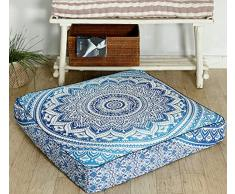 Popular Handicrafts Mandala Round Hippie Bodenkissen 35x 35 Pillow Cover blau
