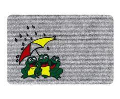 Hamat Flocky Teppich für Eingangsbereich, Polypropylen, Nadelgrau, Motiv Frosch, 40 x 60 cm