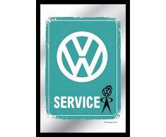 empireposter - Volkswagen - VW Service Vintage - Größe (cm), ca. 20x30 - Bedruckter Spiegel, NEU - Beschreibung: - Bedruckter Wandspiegel mit schwarzem Kunststoffrahmen in Holzoptik -