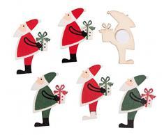 Rayher 46290000 Holz-Streuteile Nikolaus, mit Klebepunkt, Holzstreuteile, Tischstreuer, Tischdeko, Streudeko Weihnachten, Btl. 6 Stück, 4 x 2,4 cm, sortiert rot/grün