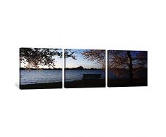 icanvasart 3 Stück Park Bench mit Ein Denkmal im Hintergrund, Jefferson Memorial, Gezeiten, Waschbecken, Potomac River, Washington DC, USA Kunstdruck auf Leinwand, Panorama Bilder, 121,9 x 40,6 cm/1,9 cm Tiefe