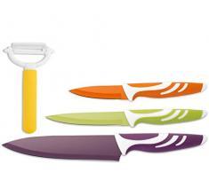 H&H Set Messer, Antihaft, mit Kartoffelschäler, Edelstahl, Gemischte Farben, 3 Stück
