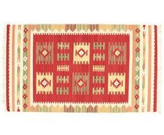Loloey Nomad Kilim Teppich, Wolle, rot, 100Â x 150Â cm