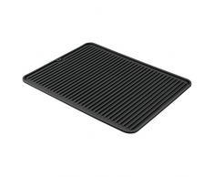 iDesign Abtropfmatte, große Spülbeckenmatte aus Silikon, gerillte Geschirrabtropfmatte für die Ablage von Besteck und Geschirr, schwarz