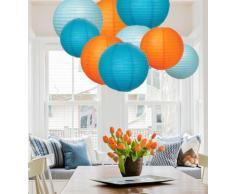EIN Liittle Tree Papierlaternen, gemischt, rund, für Hochzeit, Geburtstag, Party, Dekoration, Ozean-Ton, 30,5 cm + 25,4 cm