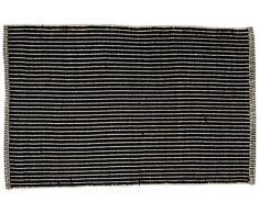 Jute & Co. Teppiche Aspen Teppich, Farbe DIM. 60 x 90 cm, 100% Baumwolle, Schwarz, One Size