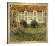 Gerahmtes Bild von Henri Le Sidaner Gartenhaus und Sonnenblumen, Kunstdruck im hochwertigen handgefertigten Bilder-Rahmen, 70x50 cm, Silber Raya