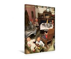 Premium Textil-Leinwand 30 x 45 cm Hoch-Format Kinderspiel im Esszimmer | Wandbild, HD-Bild auf Keilrahmen, Fertigbild auf hochwertigem Vlies, Leinwanddruck von WEIBKIWI