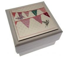 WHITE COTTON CARDS 5,5 x 5,5 cm, Wimpelkette Hochzeitsbox Geschenkbox