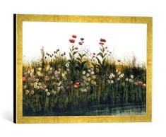 Gerahmtes Bild von Andrew Nicholl Poppies, Daisies and Thistles on a River Bank (Pair of 85964), Kunstdruck im hochwertigen handgefertigten Bilder-Rahmen, 60x40 cm, Gold Raya
