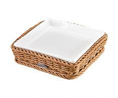 Saleen Korb mit herausnehmbarer Porzellan-Schale, Gastrotauglich, Quadratisch, Maße: 15,5 x 15,5 x 3,5 cm, Kunststofffaser/Porzellan, Beige/Weiß, 02101004160