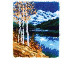 Vervaco PN-0172585 Herbstlandschaft Knüpfpackung Teppich, Baumwolle, mehrfarbig, ca. 44 x 55 cm / 17,6 x 22