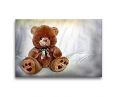 Calvendo Premium Textil-Leinwand 75 cm x 50 cm quer Teddybär | Wandbild, Bild auf Keilrahmen, Fertigbild auf echter Leinwand, Leinwanddruck: Kuscheltier Hobbys Hobbys