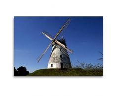 Premium Textil-Leinwand 120 x 80 cm Quer-Format Windmühle Veltheim (Erdholländer)   Wandbild, HD-Bild auf Keilrahmen, Fertigbild auf hochwertigem Vlies, Leinwanddruck von Martina Berg