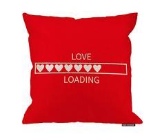 HGOD DESIGNS Love Kissenbezug, Valentinstag, lustiges Love Loading Design, Baumwolle, Leinen, Polyester, Dekoration, Sofa, Schreibtisch, Stuhl, Schlafzimmer, 40,6 x 40,6 cm 18x18 Inch A4-0118