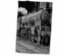 3dRose Magic Laterne Vintage LMS Royal Scot Dampflokomotive Bahnhof Handtuch, weiß, 15x 22