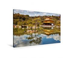 Premium Textil-Leinwand 90 x 60 cm Quer-Format Goldener Pavillon Kinkakuji   Wandbild, HD-Bild auf Keilrahmen, Fertigbild auf hochwertigem Vlies, Leinwanddruck von Michael Kurz