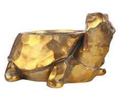 Benjara Fiberstone Blumentopf Schildkröte mit Hammerdesign, goldfarben