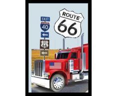 empireposter - Route 66 - Truck - Größe (cm), ca. 20x30 - Bedruckter Spiegel, NEU - Beschreibung: - Bedruckter Wandspiegel mit schwarzem Kunststoffrahmen in Holzoptik -