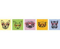 Eurographics Animal Portraits with Glasses Set Leinwandbild, Leinwand, Bunt, 20 x 20 cm, 5