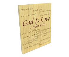 Spirit & Truth Wandbild God is Love 1 Johann 4:40 Schild mit tiefem Waschbecken, 20 x 24,25 x 1,25 cm