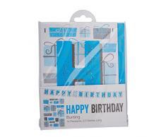 Neviti Happy Birthday Wimpelkette, Blau