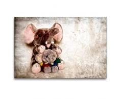 Calvendo Premium Textil-Leinwand 120 cm x 80 cm quer Elefant | Wandbild, Bild auf Keilrahmen, Fertigbild auf echter Leinwand, Leinwanddruck: Kuscheltier Hobbys Hobbys