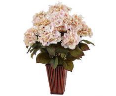 Nearly Natural Fast natürlich Hortensie Seide Arrangement in Bambus Übertopf, Creme pink