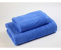Das Dragon Blanco Pack Waschbecken mit Badetuch, 100% Baumwolle, Mittelblau, 50 x 100; 100 x 150 cm