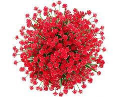 GREENRAIN 6 Bündel künstliche Blumen Lotusblüten für den Außenbereich, UV-beständig, kein Verblassen aus Kunst-Kunststoff, für Garten, Veranda, Fenster, Box Dekoration 13 * 6.5 rot