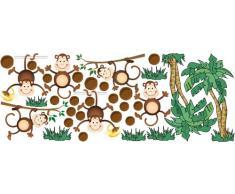 Graz Design 771000_150x57 Wandsticker Set Kinderzimmer kletternde Affen mit Palme und Kokosnüsse