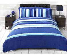 Detroit Bettwäsche-Set für Doppelbett, Design: Blau / Weiß gestreift