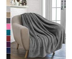 PAVILIA Pavillia Überwurfdecke aus Plüsch Sherpa für Couch Sofa, Flauschiger Microfaser Fleece Überwurf, weich, flauschig, gemütlich, leicht, solide Decke, Polyester, grau, 50 x 60 Inches
