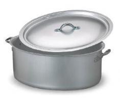 Pentole Agnelli Kasserolle, oval, 2 Griffe und Deckel, Aluminium, satinierte Oberfläche, Silberfarben 28 cm Silber/schwarz