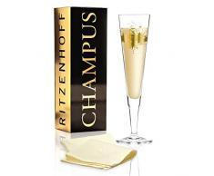 RITZENHOFF Champus Champagnerglas von Ramona Rosenkranz, aus Kristallglas, 200 ml, mit edlen Goldanteilen, inkl. Stoffserviette