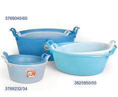 Stefanplast Polyethylen Oval Waschbecken, neutral/hellblau, 23 Liter