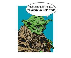 Komar Wandbild Star Wars Classic Comic Quote Yoda | Kinderzimmer, Jugendzimmer, Dekoration, Kunstdruck | ohne Rahmen | WB122-40x50 | Größe: 40 x 50 cm (Breite x Höhe)