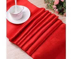 Grace Florist 10 Stück Hochzeit 30,5 x 274,3 cm Satin Tischläufer für Hochzeit Party Bankett Dekoration Rot
