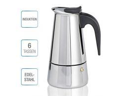 Espressokocher Induktion geeignet (Edelstahl Kaffeekocher für 6 Tassen (300ml), Aluminiumfreie Espressokanne, Mokkakanne für Herd, spülmaschinenfester Espresso Maker)