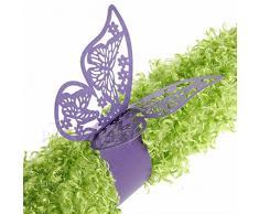 King & Pig Serviettenringe in Schmetterlingsform, für Abendessen, Esstisch, Zuhause, Hochzeit, Geburtstag, Jahrestag, Party, Dekoration, 50 Stück violett