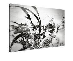 LANA KK - Leinwandbild Graf Silver abstraktes Design auf Echtholz-Keilrahmen - Fotoleinwand-Kunstdruck in grau, einteilig & fertig gerahmt in 60x40cm