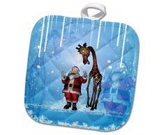 3dRose phl_252723_1 Topflappen, Weihnachtsmann mit lustiger Giraffe, 20,3 x 20,3 cm