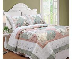 Cozy Line Home Fashions Floral Patchwork Grün Pink Burgund Land, 100% Baumwolle Quilt Betten Set, Überwurf Tagesdecke, Wendedecke, Gewelltem Rand, Geschenke für Frauen Twin - 2 Piece Celia Tiffany