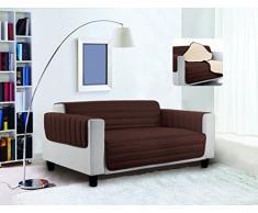 Trendy Sofabezug, gesteppt, Braun/Creme, 2 Plätze